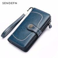 SENDEFN Brand Split Leather Wallet Female Long Wallet Women Zipper Purse Strap Clutch Coin Purse Womens Leather Purses 5186N 65