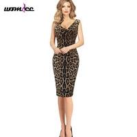Women Dress Elegant Sexy Hot V Neck Leopard Draped Sleeveless Tunic Casual Party Club Clubwear Pencil