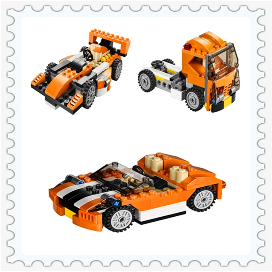 119Pcs City Creator 3 in 1 Sunset Speeder Building Block Toys KAZI 3108 DIY Educational Gift For Children Compatible Legoe joy joytown j25590 city football field model building block 251pcs diy educational toys for children compatible legoe