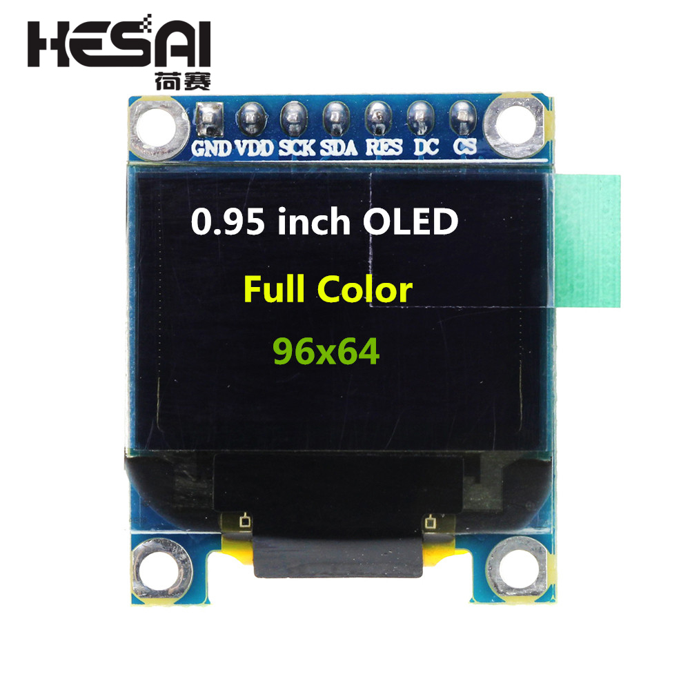 0.95 Polegada Módulo Display OLED a Cores com Resolução 96x64 Interface Paralela SPI Controlador SSD1331 7PIN