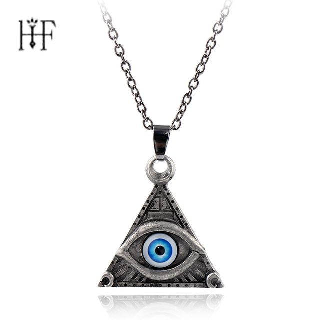 Vintage Triangle Pendant Necklace Eye Of Horus Egyptian Sun God