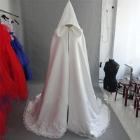 Muslim Wedding Cape A Line Appliqued Lace Satin for Wedding Long White Hooded cape Arabic Muslim Bridal veils