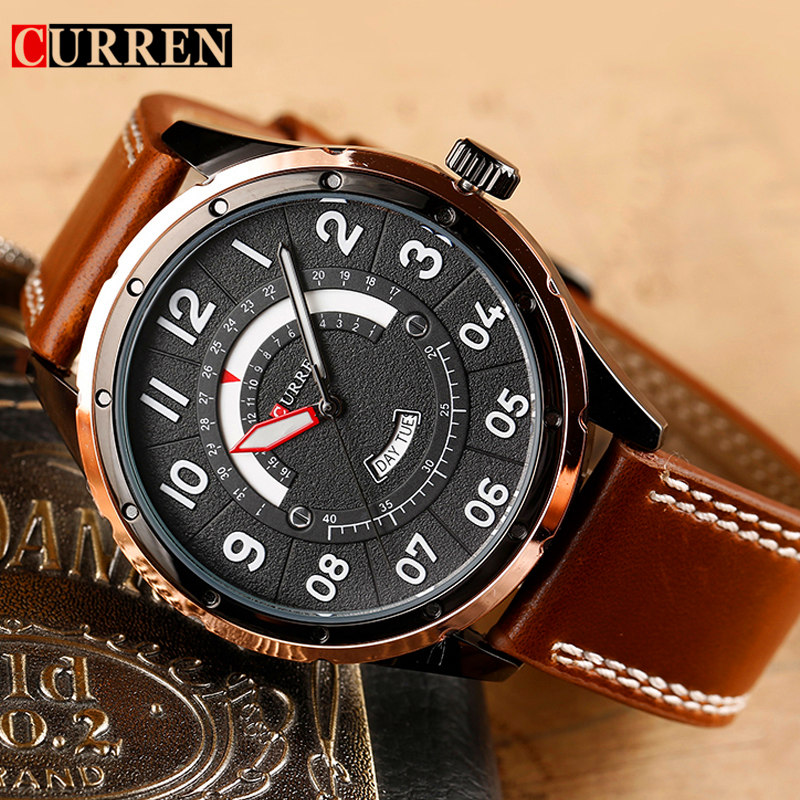 Curren Watches Men Brand Luxury Leather Quartz Watch Men's Casual Sport Wristwatch Waterproof Date Male Clock Relogio Masculino v6 luxury brand beinuo quartz watches men leather watch outdoor casual wristwatch male clock relojes hombre relogio masculino