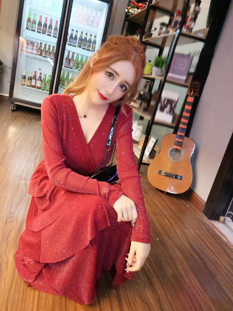 Mesh Sequins Bling Cake Dress Long Vintage Princes Lady Layers Ruffles Dress V Neck Robe Longue Vestido Largo Vestiti Lunga 11