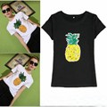 2017 Новый Летняя Мода футболка Женщины Блестки Ананас Harajuku Каваи Шорты Рукав Футболки Женщины Топы Clothing
