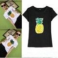2017 nuevo verano de la manera mujeres de la camiseta de lentejuelas piña kawaii harajuku cortos manga camiseta mujeres tops clothing