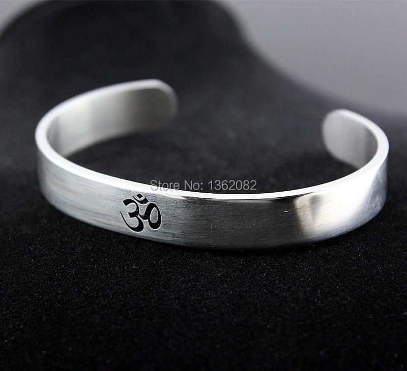Cool Men Women's Silver Tone AUM OM Ohm Hindu Buddhist Hinduism Yoga India Stainless Steel Cuff Bangle Bracelet Jewelry MB194