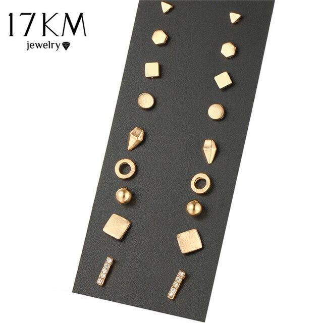 17 KM 9 Paren/set Brincos Geometrische Kristallen Oorbellen Piercing Goud Kleur Nieuwe Mode Oorbel Voor Vrouwen Bijoux Sieraden