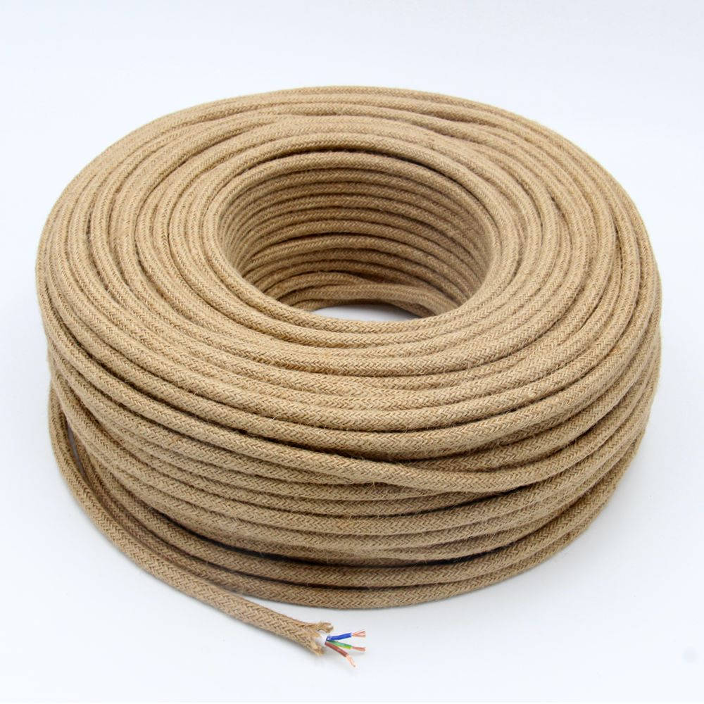 Cable de cáñamo Vintage de 3 metros, 5 metros, 10m, 3 núcleos, Cable redondo Flexible, Cable eléctrico de Luz Retro 7