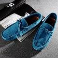 Модные США 6-10 Коровы Замши Галстук Мужские Скольжения На Вождение Loafer Автомобилей Обувь Повседневная Бизнес Обувь Лодки