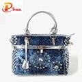 Verano 2016 mujeres de La Manera bolso grande oxford bolsas de hombro patchwork jean bolsa de estilo y decoración de cristal azul