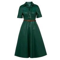 Vintacy Vintage A Line Dress Women Autumn Short Sleeve PU Leather Midi Dresses Elegant Turn Down