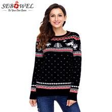 43fc27fd11cd SEBOWEL señora Navidad suéter de punto de invierno cálido Jersey Reno  patrón jerseys estilo otoño 2019 jersey para mujer suétere.