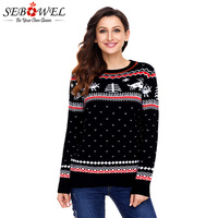 SEBOWEL Lady Christmas Knitted Sweater Winter Warm Jumper Reindeer Pattern Pullovers Style Autumn 2019 Jumper for Woman Sweaters