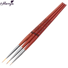 3Pcs/Set Nail Art Painting Pen Brushes Wooden Handle Fiber Hair 3D Design Drawing Lines Flowers with UV Gel Polish Manicure Tool
