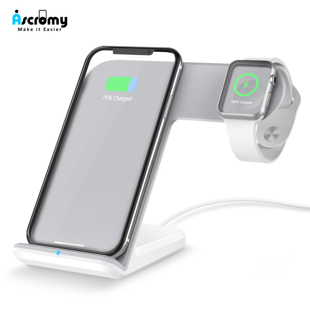 Ascromy QI Wireless Charger Dock Stand Holder For Aplle iWatch  Apple Watch 3 2 iPhone XS Max X S XR 8 Plus 8plus 11 Pro Docking  StationPhone Holders