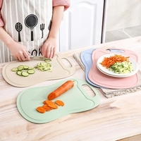 Kitchen Cutting Board Wheat Straw Cooking Tools Flexible Non Slip Hang Hole Handle Food Slice Cut