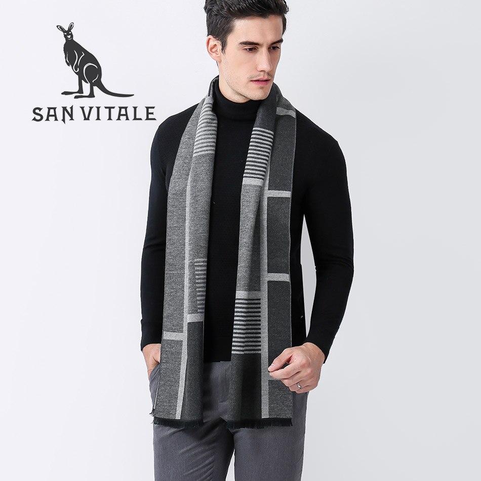 Scarves  Men Scarf Winter Warm Classic Style Hijab Cashmere Plaid Top Quality Pashmina For Dress Scarfs High Quality Designer