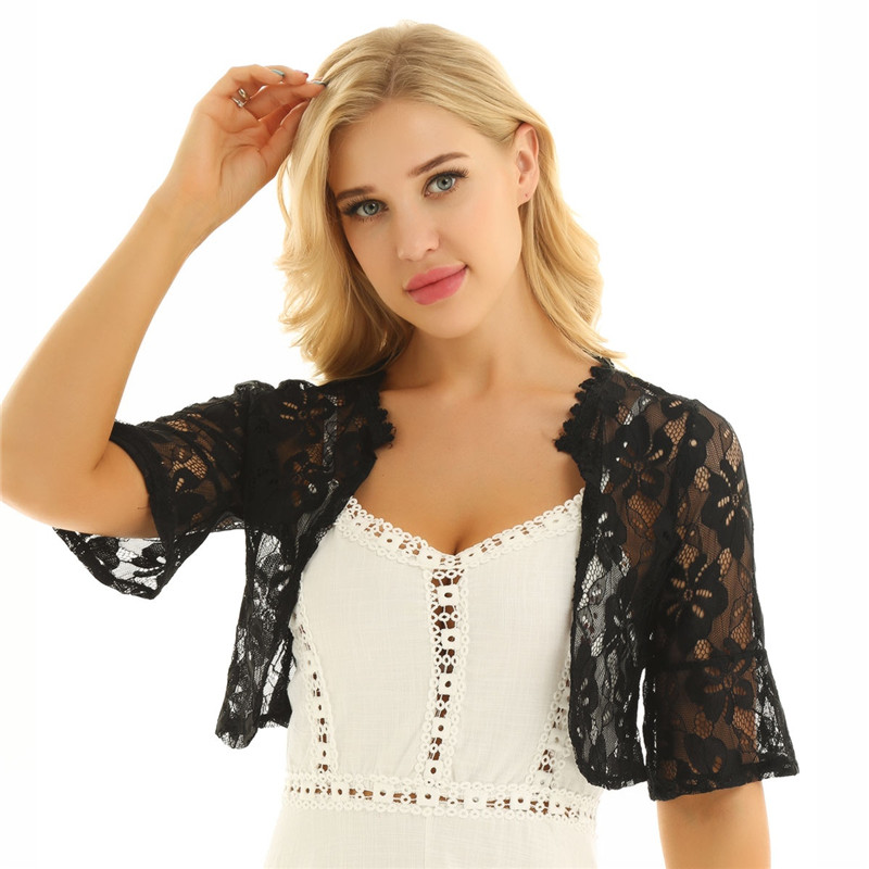 Floral Lace Wrap Half Bell Sleeve Black White Bridal Wraps Jacket Bolero 2