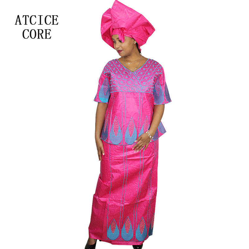 African Dresses For Women 100% COTTON NEW AFRICAN FASHION DEISGN BAIZN RICHE EMBROIDERY DESIGN ...