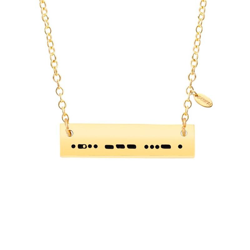 a282426912d6 Senfai personalizado nombre Morse contraseña personalizada moda Collar para  mujer colgante joyería ...
