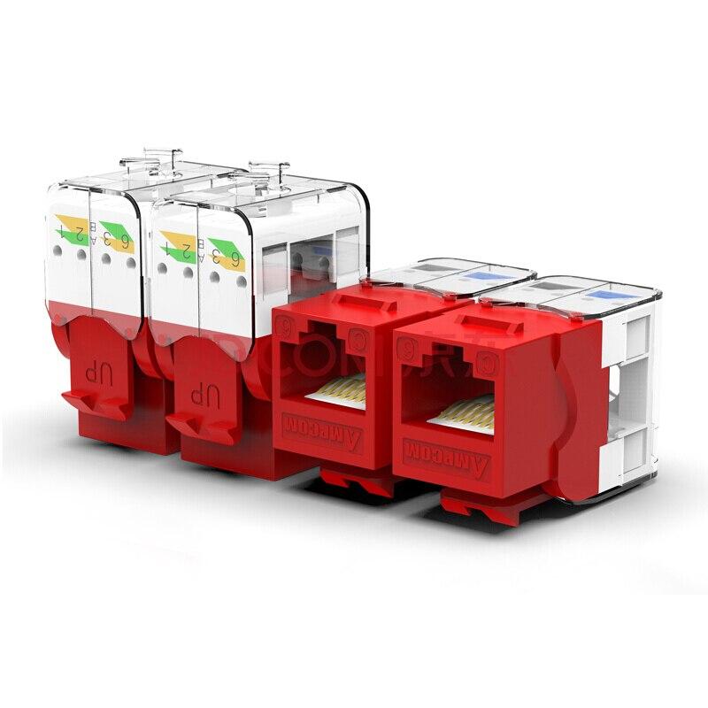 CAT6/CAT5e инструмент меньше трапецеидальное гнездо, AMPCOM RJ45 UTP Keystone модуль адаптера без Пробивной требуется инструмент муфты-1/2/10 шт. в комплекте - Цвет: CAT6 Red