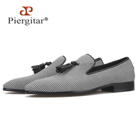 Piergitar 2019 New Three colors Hounds tooth Fabric men's loafers with leather tassel Fashion party and wedding men casual shoes