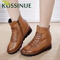Nuevos zapatos de invierno martin botas de cuero Genuino botas cortas de las mujeres mujer plana botas de nieve caliente de la felpa de piel botas de mujer de tamaño 35-41
