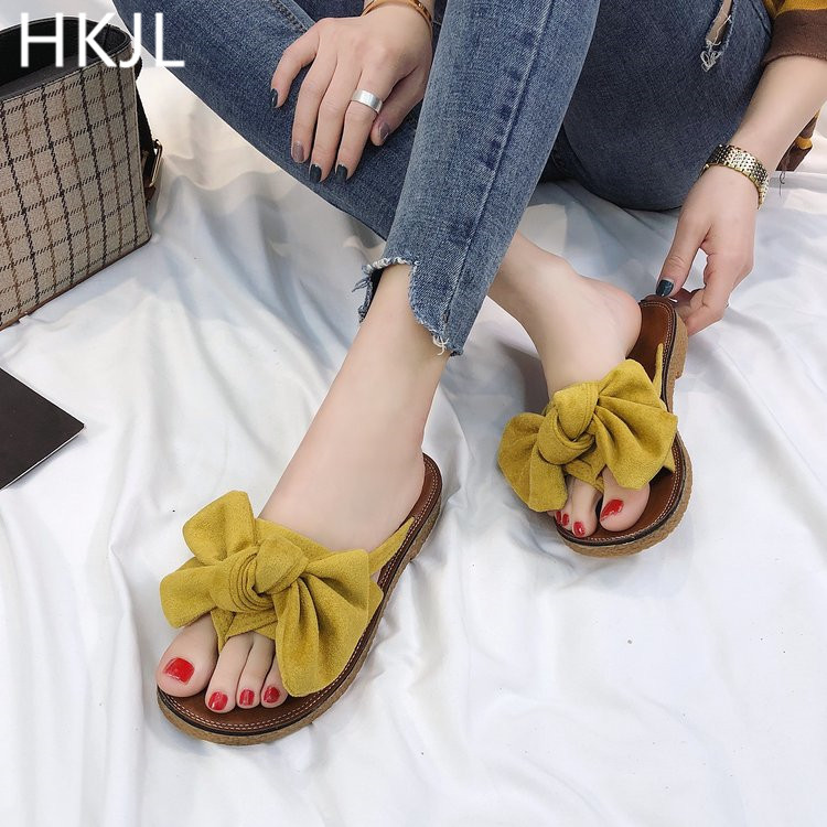 HKJL Summer slipper women flat with fashion versatile 2019 new Korean version of bow sandals A085