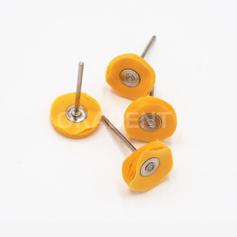 20pcs Dental Lab Brush Polishing Wheel  Yellow Cloth Polishers For Rotary Tools HP Shank 3mm