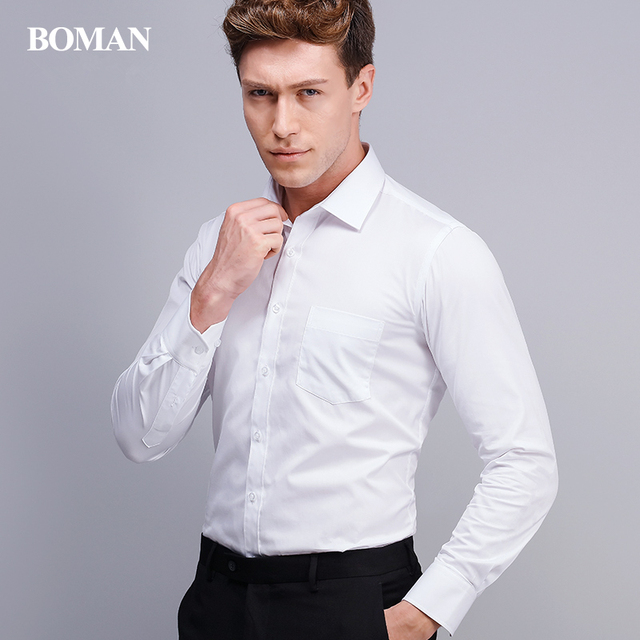 Famous Brand Long Sleeve Men Dress Shirt Office Fashion Formal Business Cotton Polyester Slim Fit Boy Male Casual Shirts 4XL