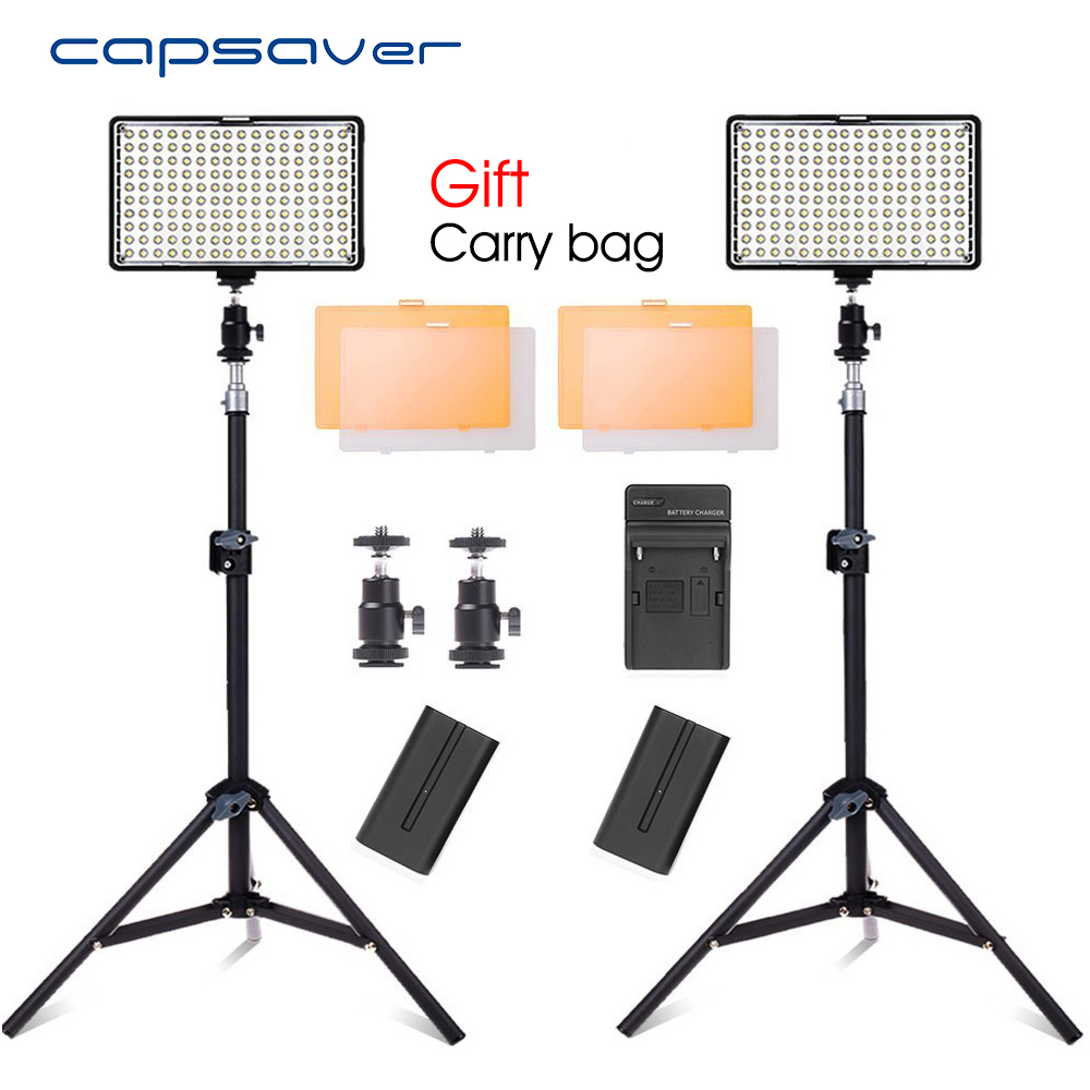 capsaver TL-160S 2pcs LED Video Light Studio Lamp Photo Photographic Lighting with Tripod Dimmable 3200K-5600K NP-F550 Battery