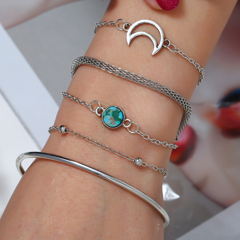 2019 New Fashion Silver Moon Nature Stone Geometric Bangle 5ps For Women Elegant Open Bracelets Set Gift Wholesale Women Jewelry in Charm Bracelets from Jewelry Accessories