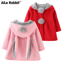 Autumn Winter Baby Outwear Infants Girls Cute Rabbit Hooded Princess Ja