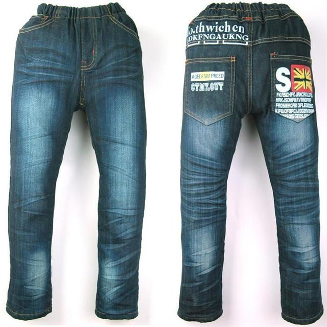 Teen Boys Jeans fleece warmed outdoor letters print Winter denim velvet Trouesers autumn child clothes Halloween