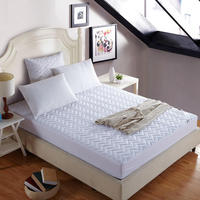 White color Hotel Quilted Cotton Bed Sheet Fitted sheet set Mattress Cover With Elastic Band120cm/150cm/180cmX200cm