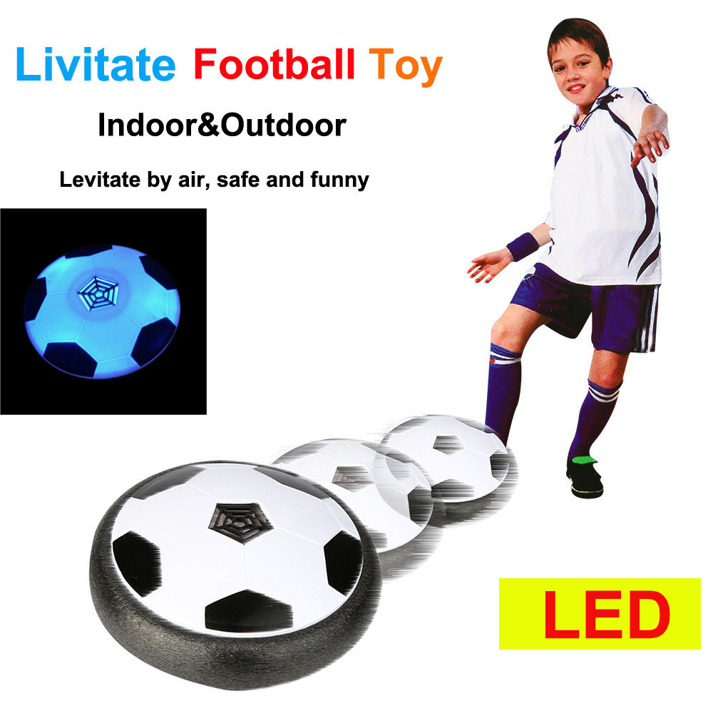 Kid Fun Toy Gift Anti-stress Boy Girl LED Air Power Training Ball Soccer Football Goal Set Hover Ball With 2 Gates Novelty Toys