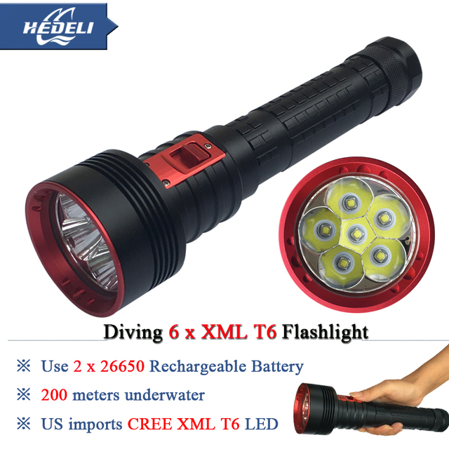 New 6T6 Powerful scuba flashlights diving flashlight led CREE XML T6 26650 Rechargeable Battery Portable Underwater Lights torch