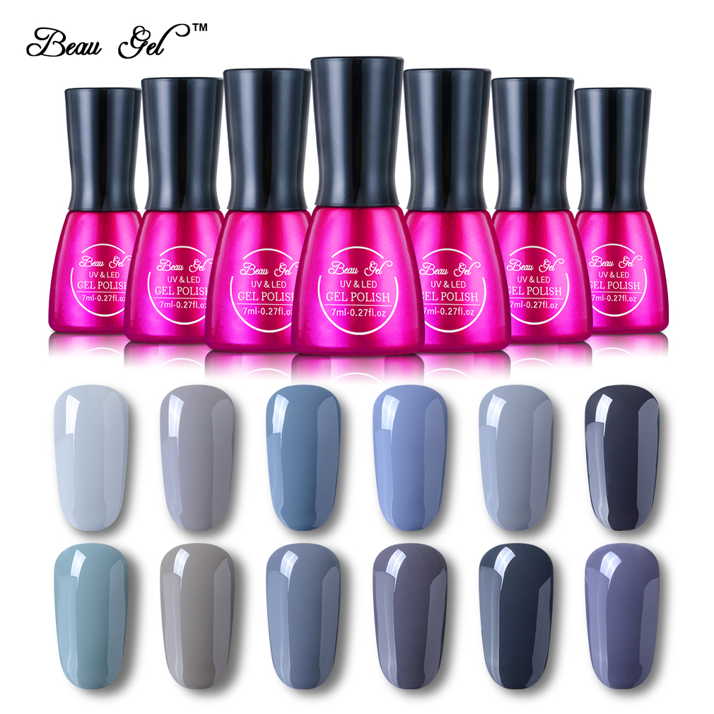 Beau Gel Grå Färg Serie UV Nail Gel Polska Semi Permanent Soak Off - Nagel konst