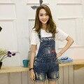 2016 Jeans Casual Buraco Jumpsuit Mulheres Padrão Riscado Botão Bolsos Das Calças de Brim Macacão Macacão Macacões e Macacão Do Vintage