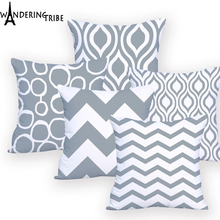 Geometric Cushion Pillows Nordic Decorative Pillow Sofa Cover Cushions Home Decoration Gray Blue