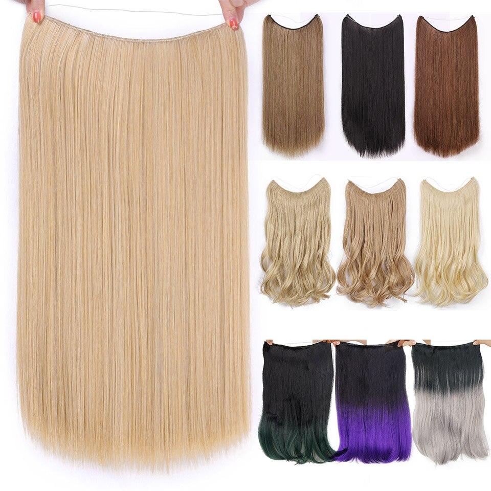 AISI belleza Natural sin Clips en extensiones de cabello largo sintético línea de pescado extensiones de cabello recto secreto Invisible