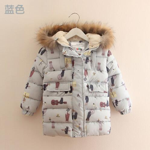 Doodle baby cotton padded jacket 2016 winter female child children s clothing child thickening with a