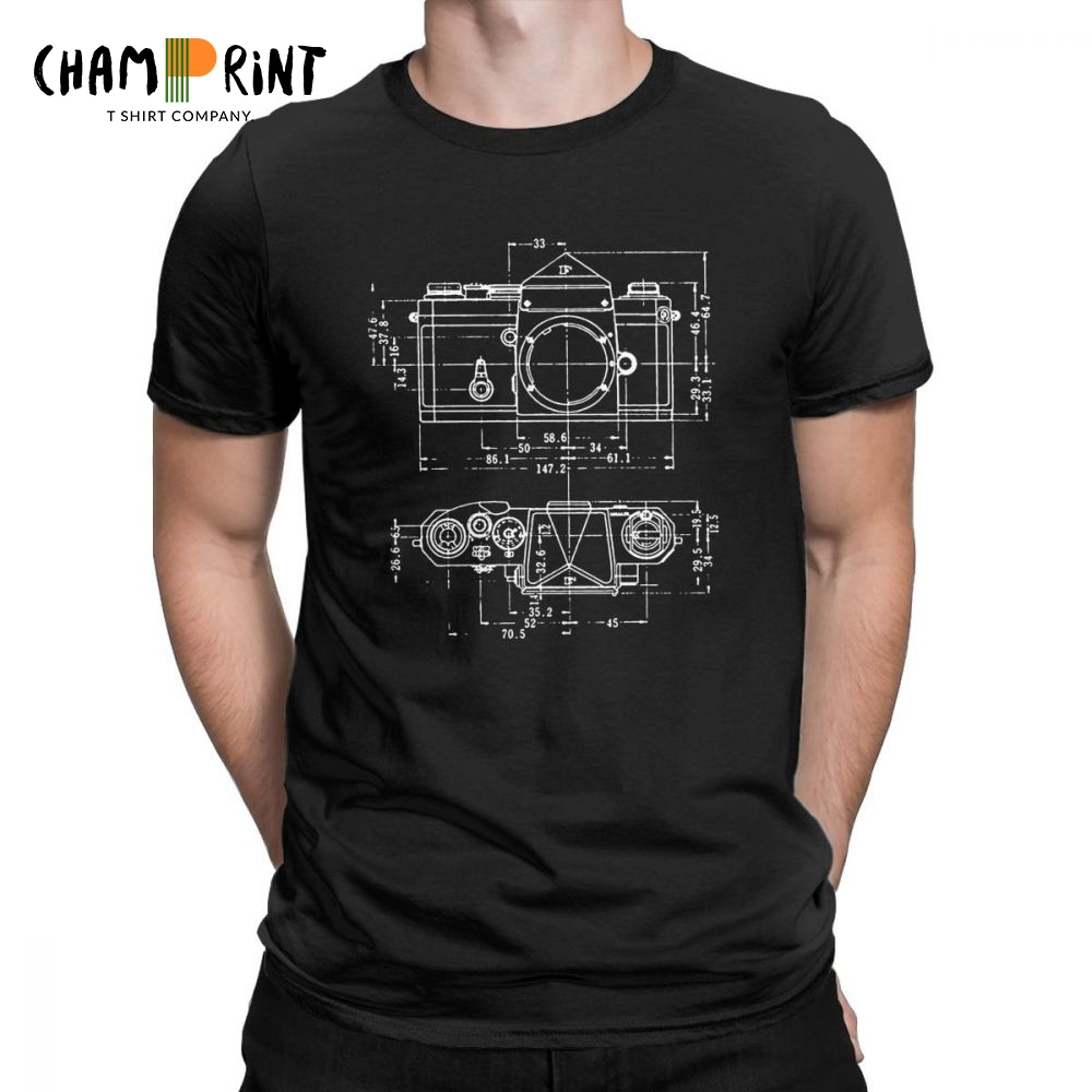 Men's Super Fashion Camera Patent T Shirt For Photographer Pure Cotton Clothing Casual Crew Neck Tees 4XL 5XL 6XL T-Shirts