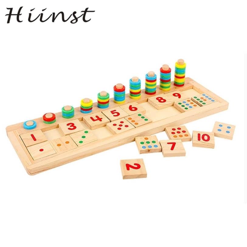 Hiinst красочные головоломки учебного пособия Математика количество деревянная доска дошкольное игрушки малыш Прямая поставка S30 AUG1425