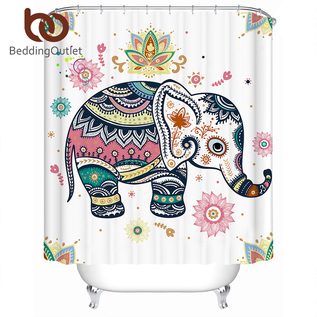 BeddingOutlet Rainbow Elephant Shower Curtain Indian Pastel Waterproof Boho Polyester Decoration For Bathroom With Hooks