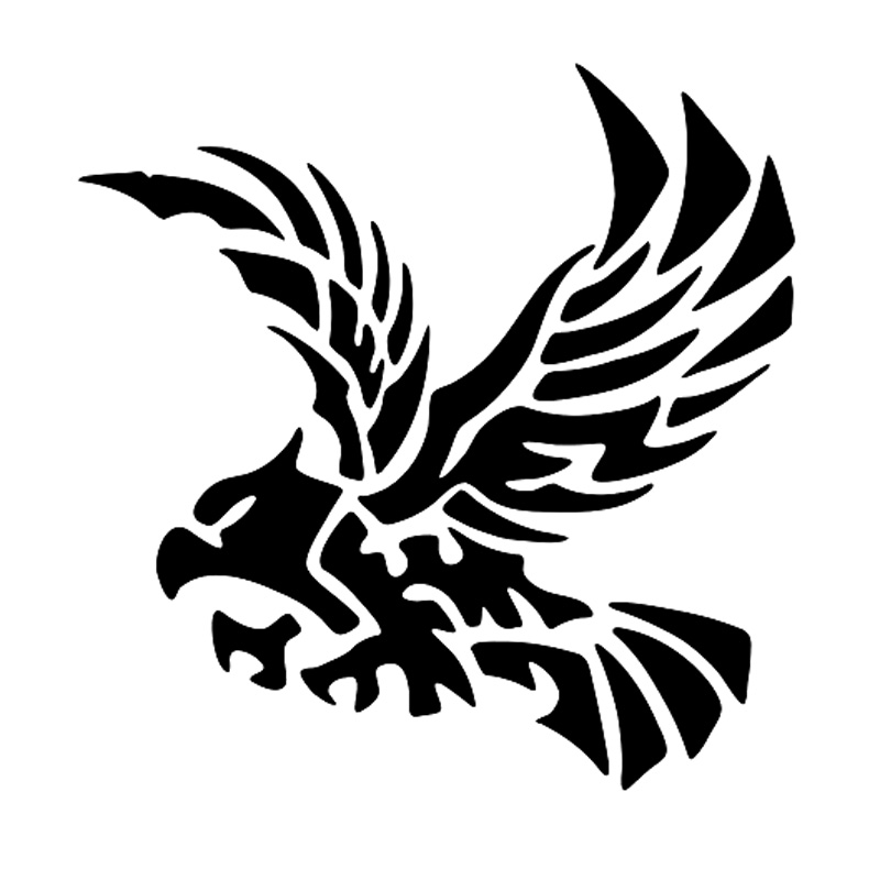 Length*Width 20cm*5cm WUHUSHID Flame Eagle Decals White Simulation Black White Flame Sticker Fits for All Car Motorcycle Decor