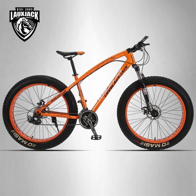 """LOVELAUXJACK Mountain Fat Bike Steel Frame 24 Speed Shimano Mechanic Brake 26""""x4.0 Wheel"""