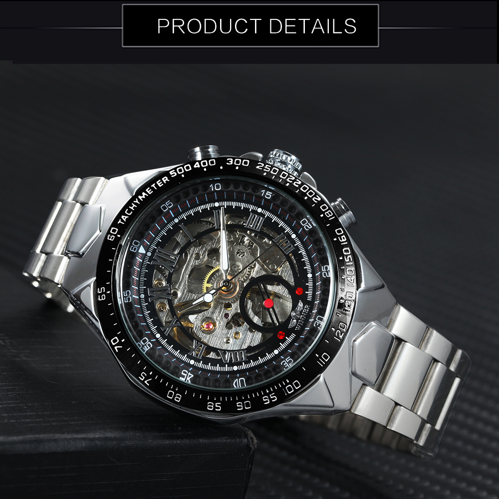WINNER Vintage Fashion Men Mechanical Watches Metal Strap Top Brand Luxury Best Selling Vintage Retro Design Wristwatches +BOX 23