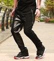 2014 de la moda de cuero pantalones tiro caído hombres pantalones de cuero basculador pantalones hip hop harem holgado de cuero pyrex hba